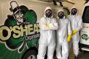 o'shea's decontamination team in hazmat suit